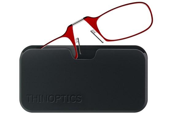ThinOPTICS Reading Glasses with Universal Pod Case Bundle Red ReadingGlasses
