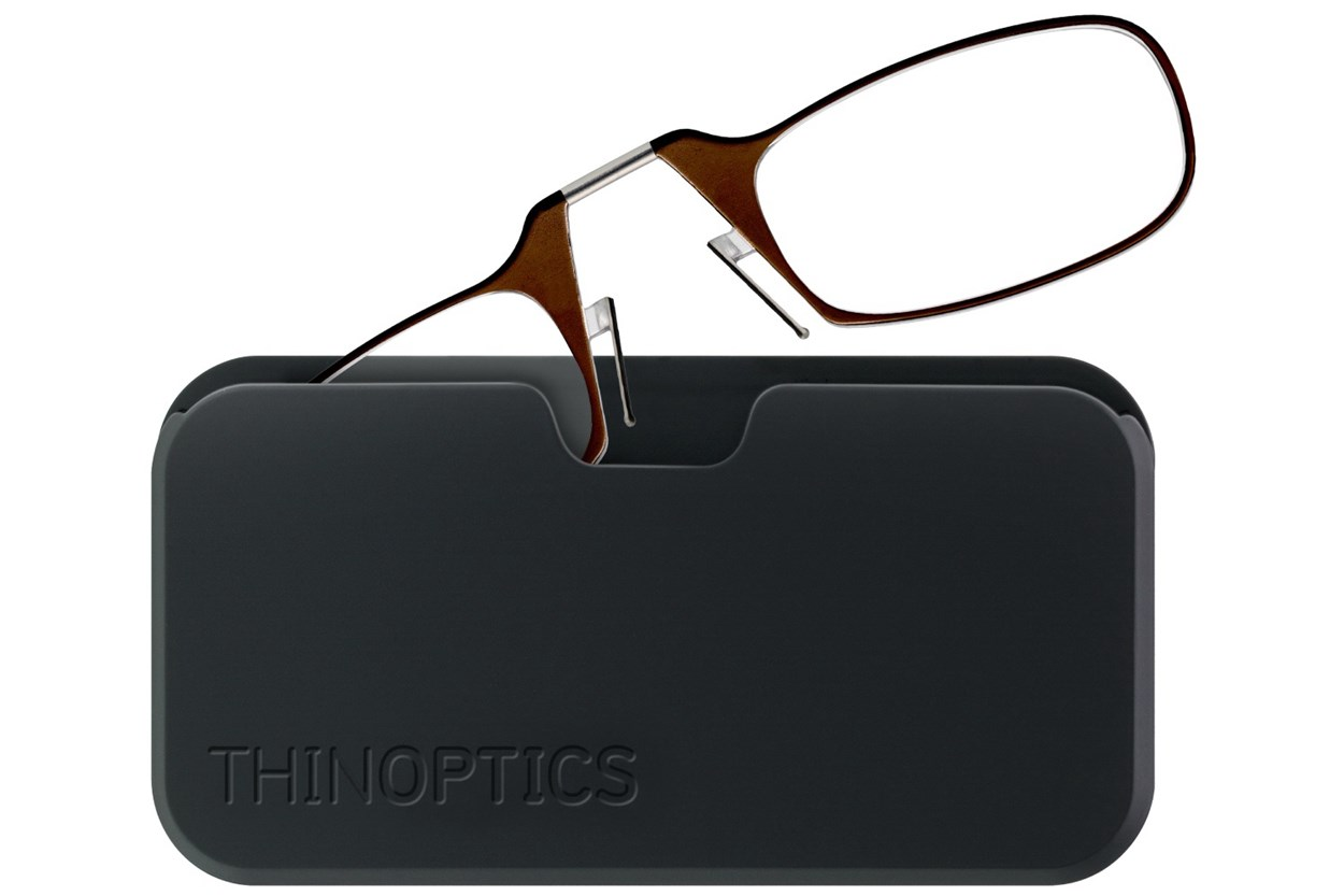 ThinOPTICS Reading Glasses with Universal Pod Case Bundle Brown ReadingGlasses