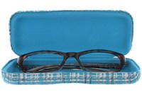 Click to swap image to CalOptix Silver Plaid Eyeglass Case 50 - Turquoise