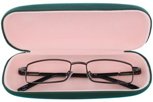 Click to swap image to alternate 1 - Amcon Protective Clam Eyeglasses Case Colors 50 - Green