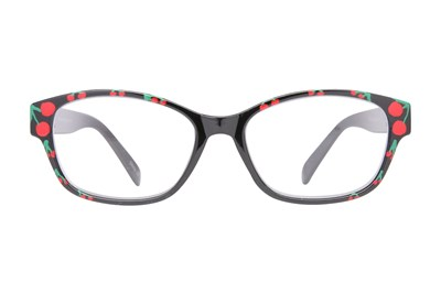 Evolutioneyes Handpainted Cherry Reading Glasses Black