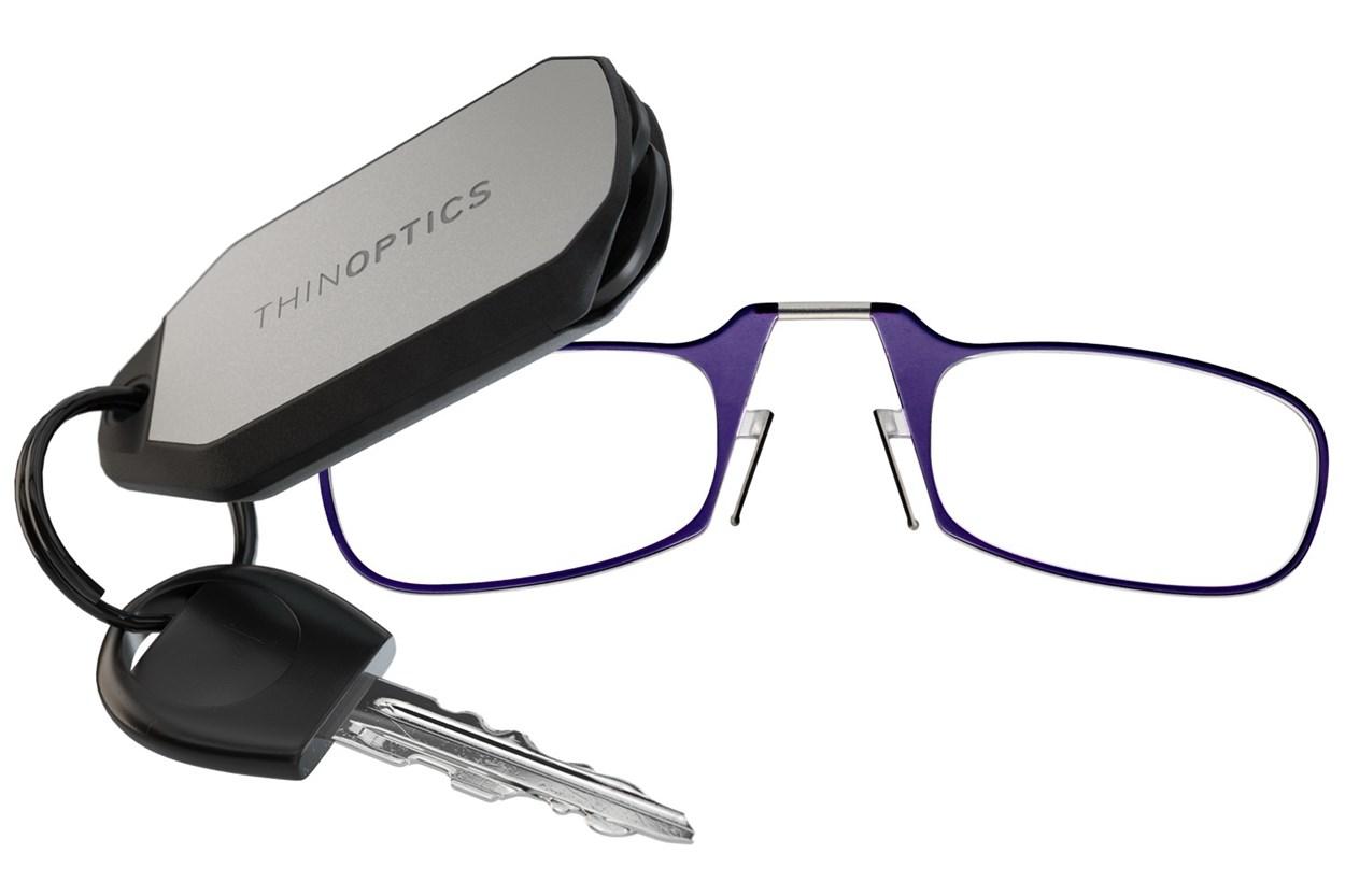ThinOPTICS Keychain Case & Readers Purple ReadingGlasses