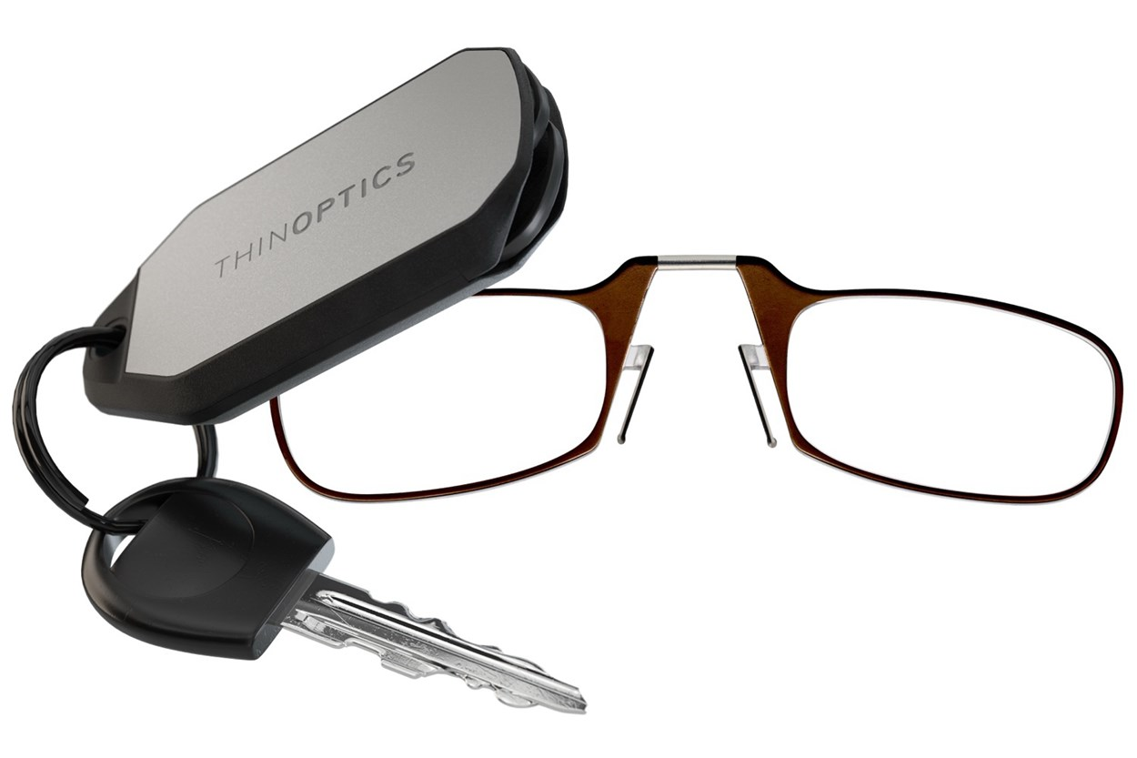 ThinOPTICS Keychain Case & Readers Brown
