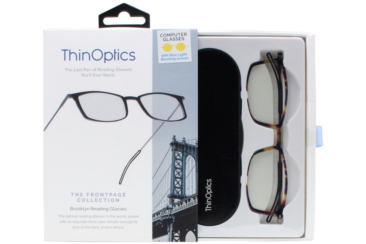 Alternate Image 1 - ThinOPTICS Front Page Blue Light Blocking Computer Glasses + Milano Black Case Tortoise ComputerVisionAides