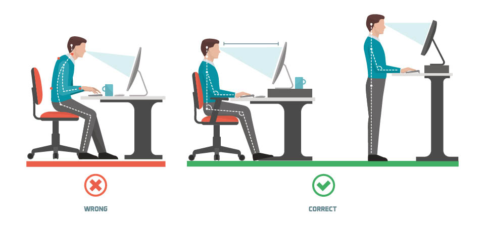 illustration of correct posture while working on a computer